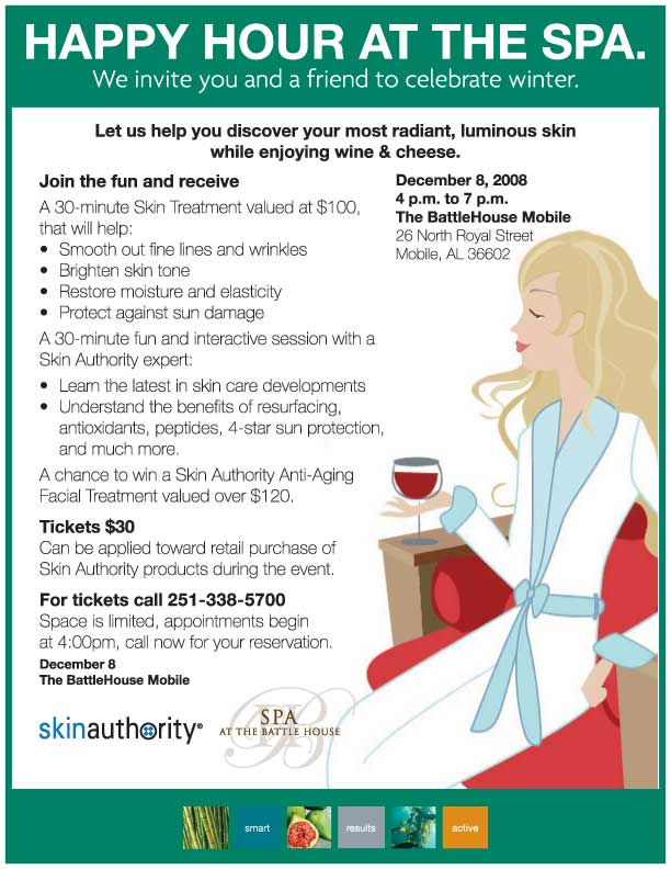 The Battle House Spa  Happy Hour 12/8. RSVP at 251-338-5700.