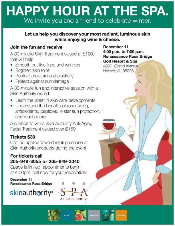 Spa At Ross Bridge Hour 8/19. RSVP at 205-949-3055.