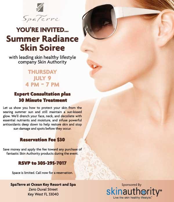 SpaTerre at Ocean Key Resort Summer Soiree Invitation. RSVP at 305-295-7017