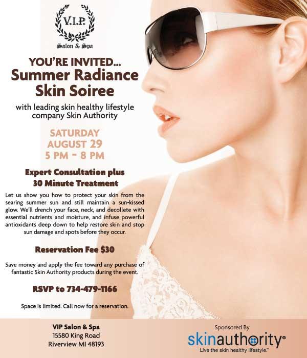 VIP Salon & Spa Summer Soiree Invitation. RSVP at 734-479-1166