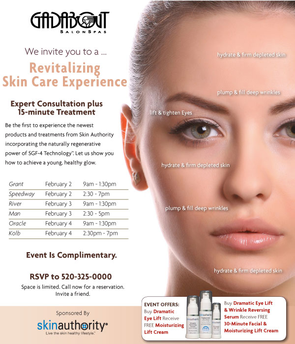 Gadabout Revitalizing Skin Care Experience. RSVP at 520-325-0000