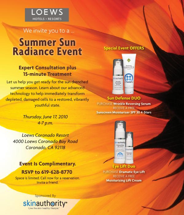 Loews Coronado Bay Resort Summer Sun Radiance. RSVP 619-628-8770