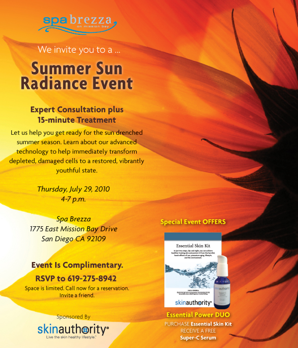 Spa Brezza Summer Sun Radiance Event. RSVP at 619-275-8942