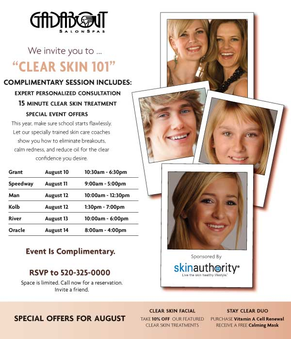 Gadabout Clear Skin 101. RSVP at 480-699-8900