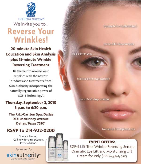 The Ritz-Carlton Dallas Reverse Your Wrinkles Event. RSVP at 214-922-0200