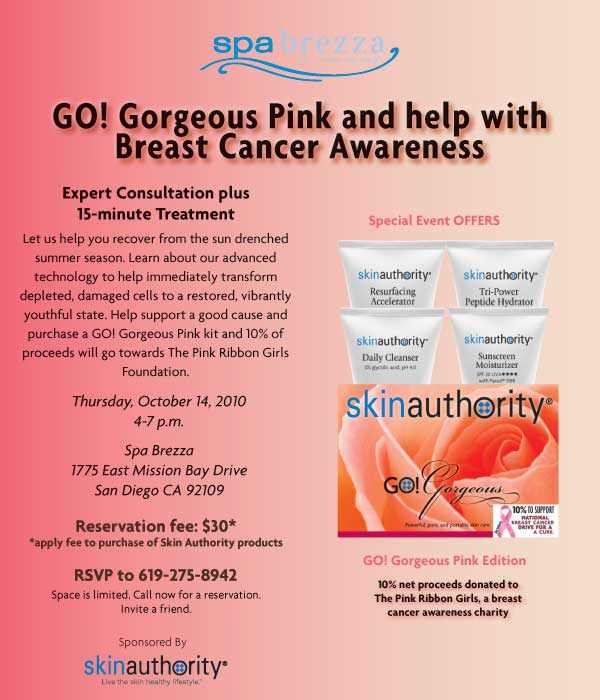 Spa Brezza GO! Gorgeous Pink Event. RSVP at 619-275-8942