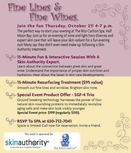 The Ritz-Carlton Half Moon Bay Fine Lines and Fine Wines Event. RSVP at 650-712-7040