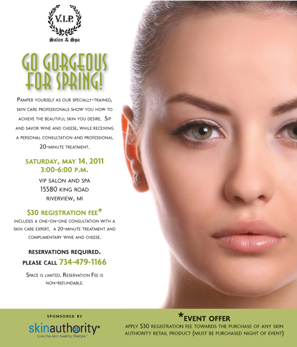 VIP Salon & Spa GO! Gorgeous For Spring Invitation. RSVP at 734-479-1166