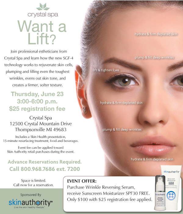 Crystal Mountain Spa Skincare Event. RSVP at 231-378-2000 ext 7200.