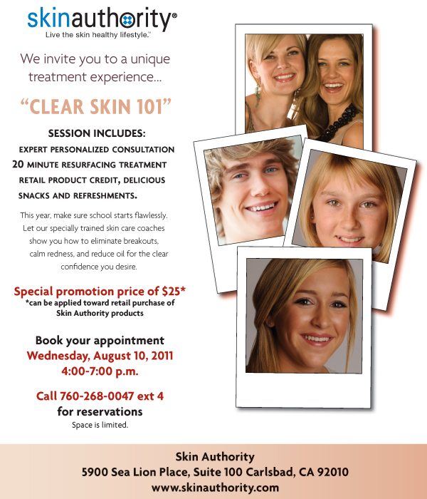 Skin Authority Clear Skin 101 Back to School Event Invitation. RSVP 760-268-0047 x4