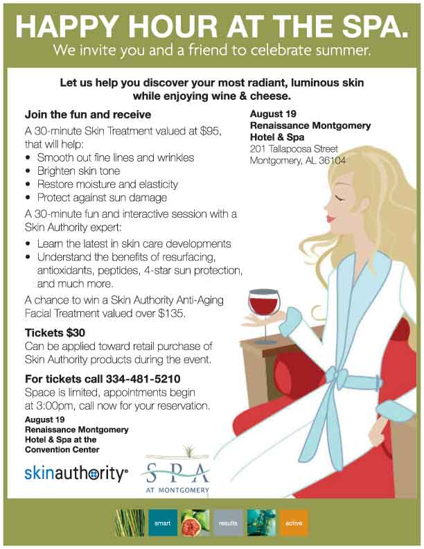 Spa At Montgomery Happy Hour 8/19. RSVP at 334-481-5210.